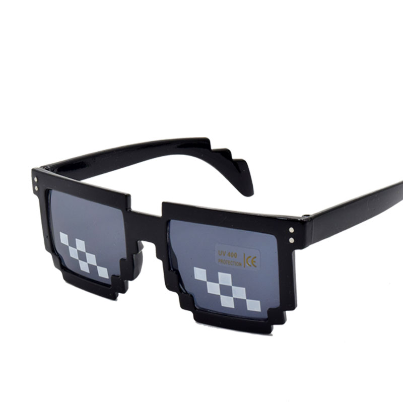 Fast Deliver Thug Life Sunglasses Men Minecraft Glasses Men Women Funny Shades 8 Bits Pixel Mosaic Glasses With Case Great Varieties Apparel Accessories