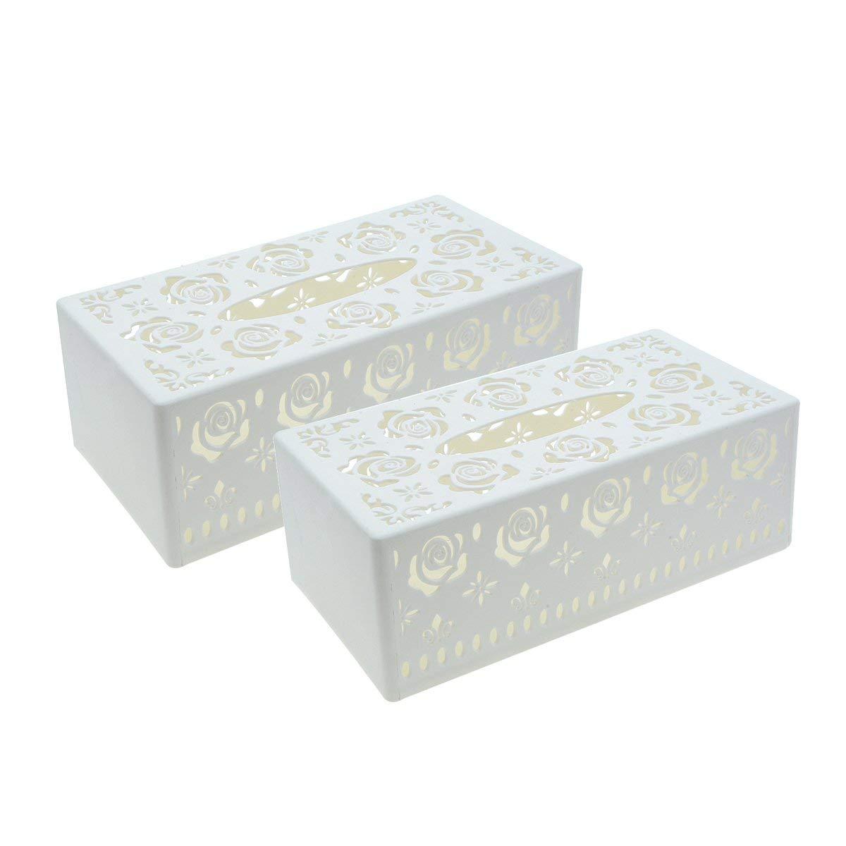 Saim Plastic Hollow Flower Pattern Facial Tissue Box Cover Holder, 2Pcs (White)
