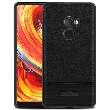 New Product Back Cover Soft Case Lychee Stripe Slim Leather TPU Case for Xiaomi Mix 2/mi 6