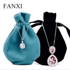 FANXI Wholesale Custom Logo Black Jewellery Pouch For Ring Watch Gift Bracelet Packaging Drawstring Velvet Pouch Jewelry Bag