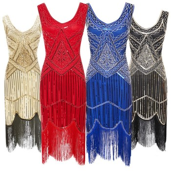 Ecoparty S-3XL Women's Roaring 20s V-Neck Gatsby Dresses- Vintage Inpired Sequin Beaded Flapper Dresses