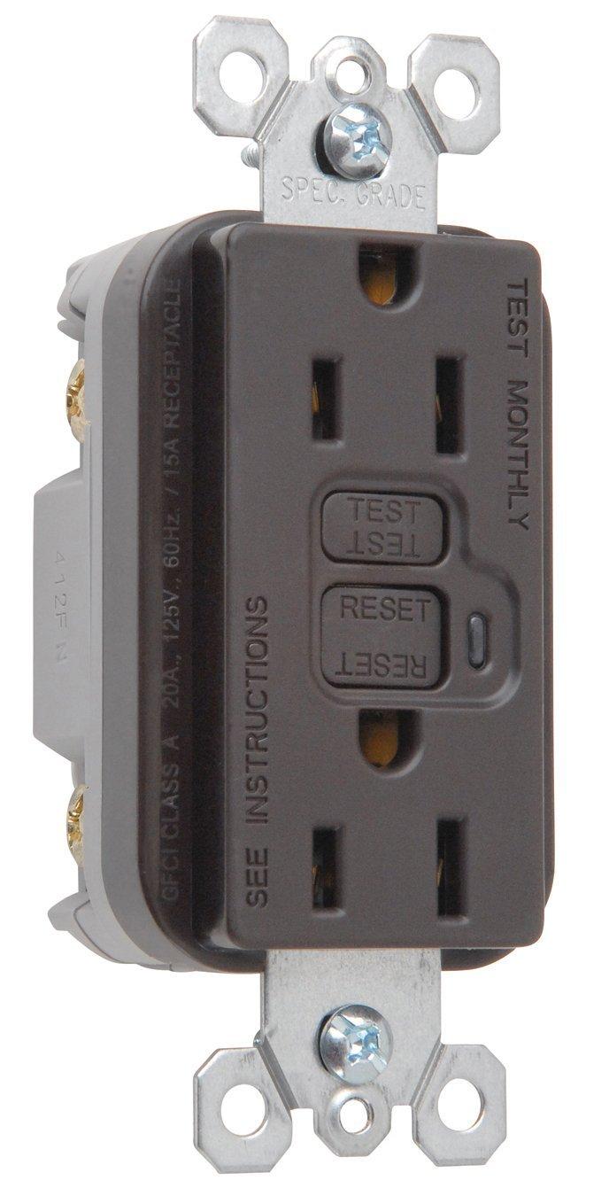 Bryant Electric GF20LA 20-Amp 125-volt Commercial-Residential LED Indicator Non Tamper-Resistant Duplex GFCI Receptacle Brown