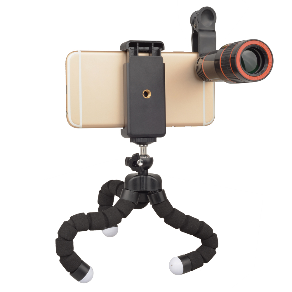 APEXEL APL-HS12XZJB Phone Photography Kit 12X Telescope Lens with Octopus  Tripod