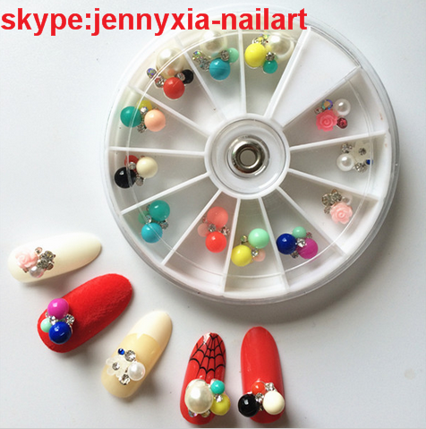 New Nail Art Candy Color 3D Nail Art Rivet New Round Pearls Rhinestone Charm Nail Art Decoration Nail Accessories Set Gems