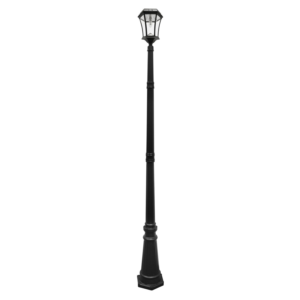 Gama Sonic Victorian Bulb Solar Outdoor Lamp Post GS-94B-S - Black Finish