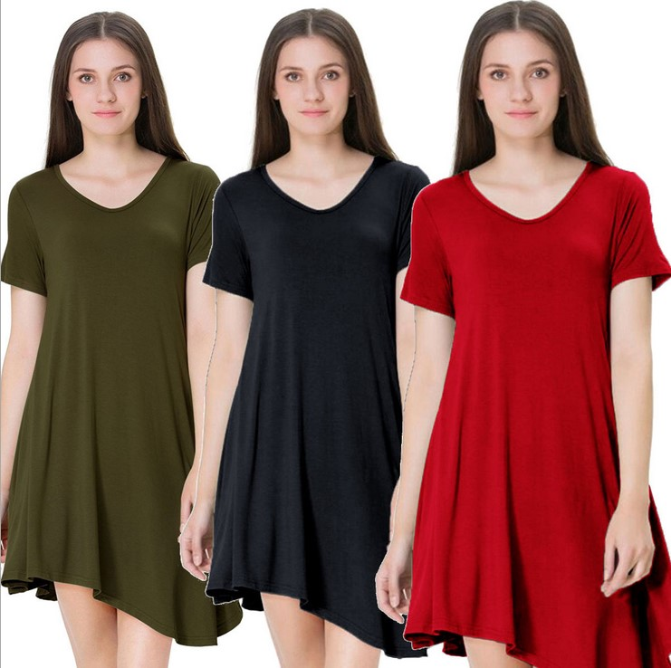 European and American ladies sexy short-sleeved dress