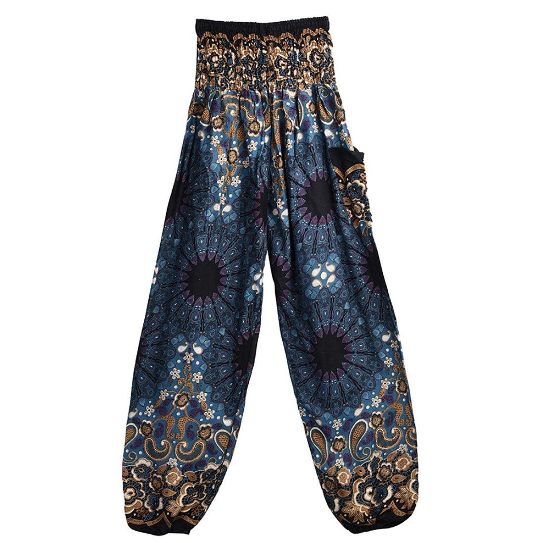 Qisc Women Pants Women's Yoga Pants, Women's Rayon Print Smocked Waist Boho Harem Pants Outfits Peacock Design One Size Fits