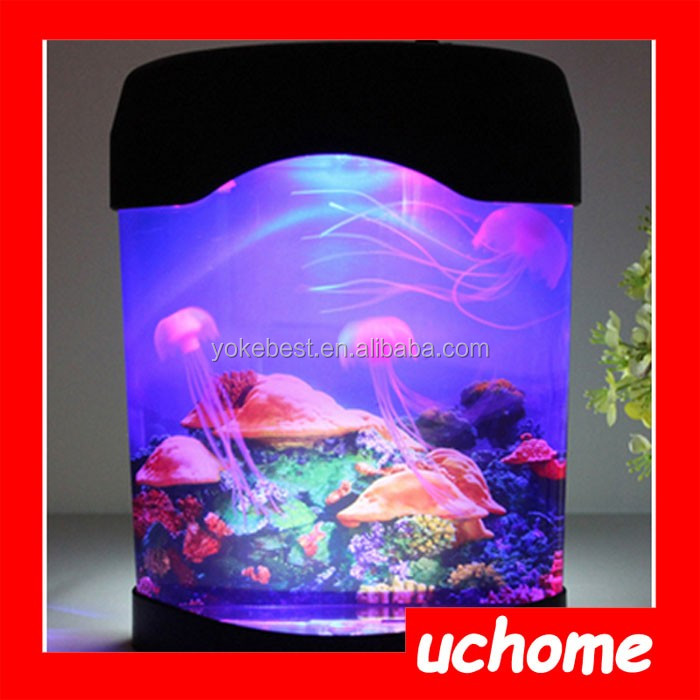 Uchome Novelty Led Desktop Mood Lamp Mini Jellyfish Tank