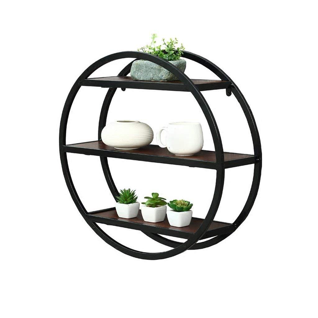 LQQGXL Storage and organization Shelf 3 Tiers Danish Creative Round Decoration Urban Trends Metal Round Wall Shelf With Frame Design Black 60x60cm (Color : Black)