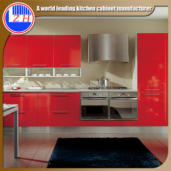 Red Gloss Cabinets Kitchen