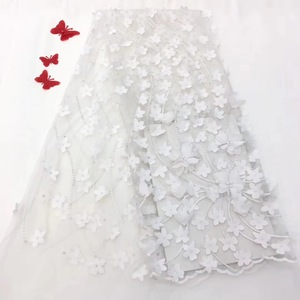 High quality white color 3d flowers applique lace embroidered beaded African tulle french lace fabric bridal