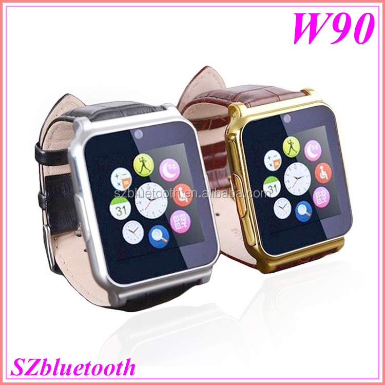 W90 Touch screen 2.0MP HD camera MP3 MP4 bluetooth TF slot 2017 cheap smart wrist watch mobile phone