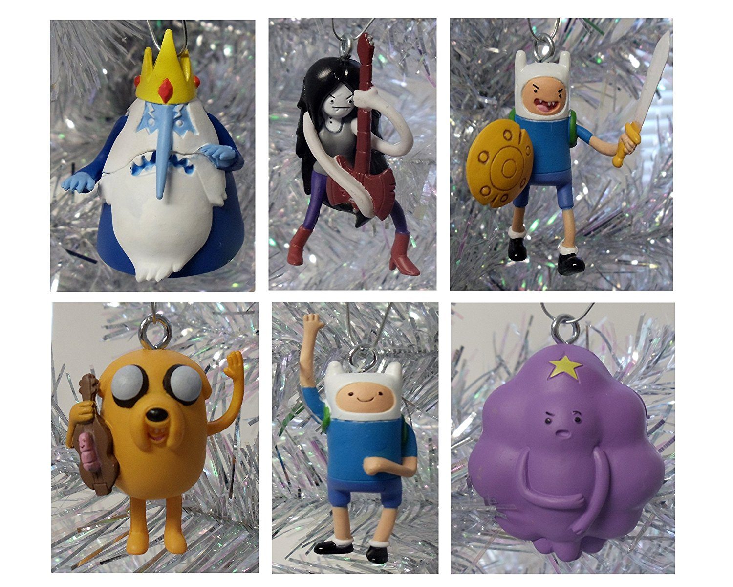 """Adventure Time 6 Piece Holiday Christmas Ornament Set Featuring Marceline, Finn, Ice King, Battle Finn, Jake and Lumpy Space Princess - Shatterproof Plastic Ornaments Range from 1.5"""" to 2.5"""" Tall - Perfect for Mini Kids Tree or Desk Office Tree"""