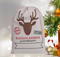 FDA Quality 100% Cotton Reindeer Pattern Christmas Bag Santa Sacks
