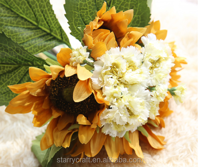 Wedding Chrysanthemum Sunflower Engraved Artificial Flower For Home Table