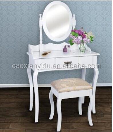 מפואר לבן שולחן איפור עם מראה ופרח / שולחן איפור / שידת עץ / ריהוט מראה WP-89