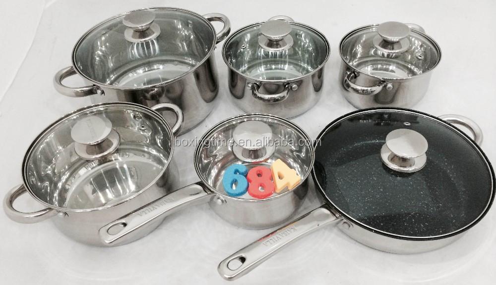 Barang Dapur Memasak Pot Set Dengan Tutup Kaca Bening