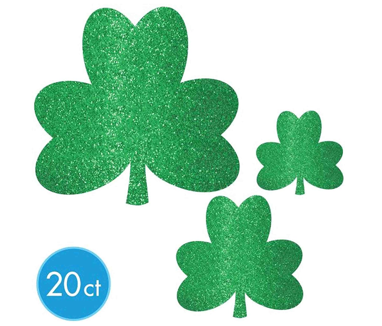 Mozlly Multipack - Amscan St Patricks Day Glitter Shamrock Mega Value Pack Cutouts - 4.5, 6.5 and 10.5 inch - (20pc Set) (Pack of 3)