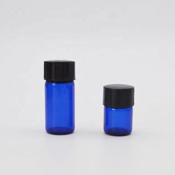 1ml 2ml 3ml mini cobalt blue 2 ml tubular glass vial with reducer and screw cap for essential oil sample