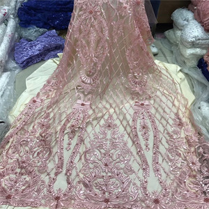 HFX Latest Pink Dubai African Net Lace Embroidered Beaded Lace Fabric with Sequins