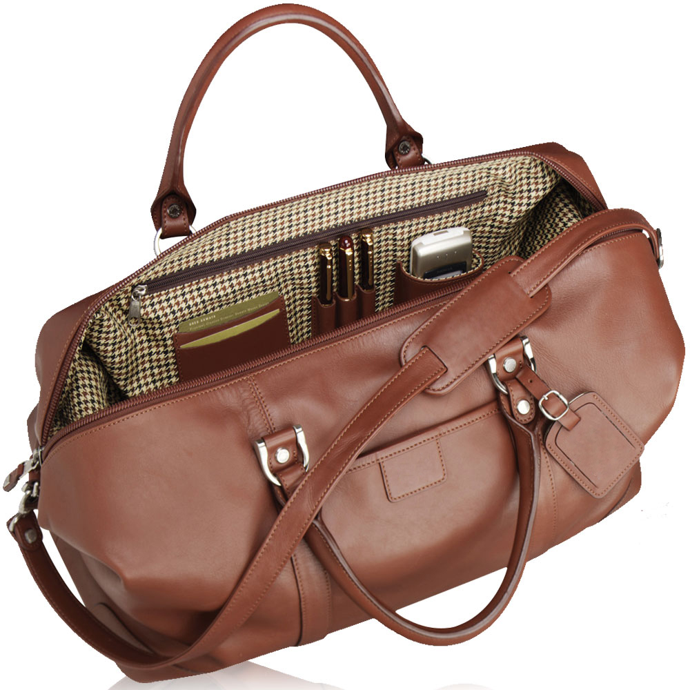 mans leather duffel bag for business and travel