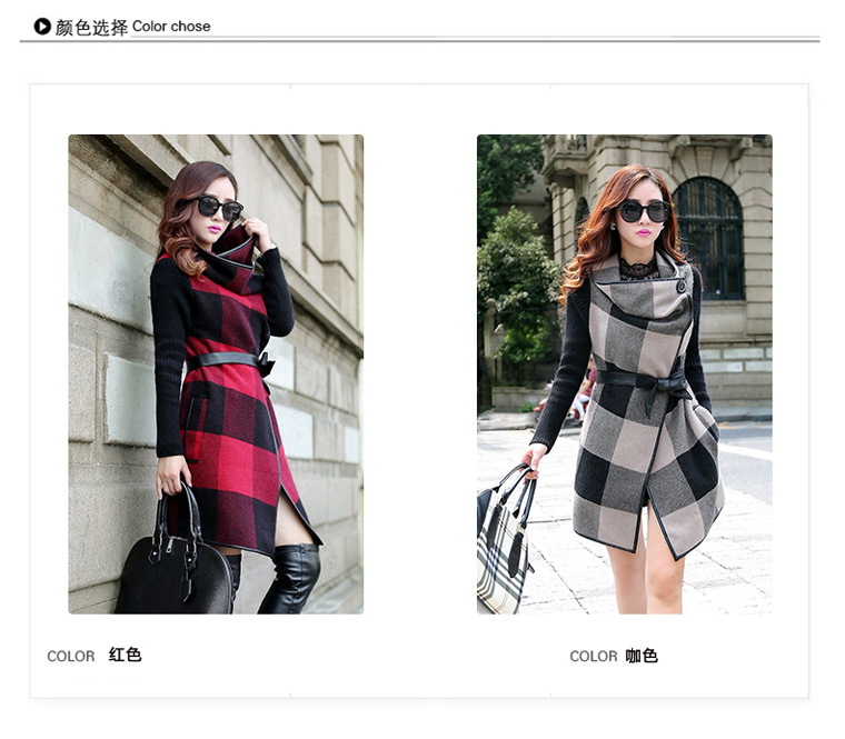 Wool & Blends High-End European Turn-Down Collar Plaid Spring Long Womens Slim Thin X-Long Woolen Coat Overcoat With Belt