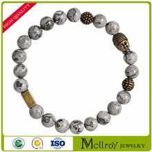 Europe and the United States fashion gray pattern natural stone bracelet gold Buddha head bracelet