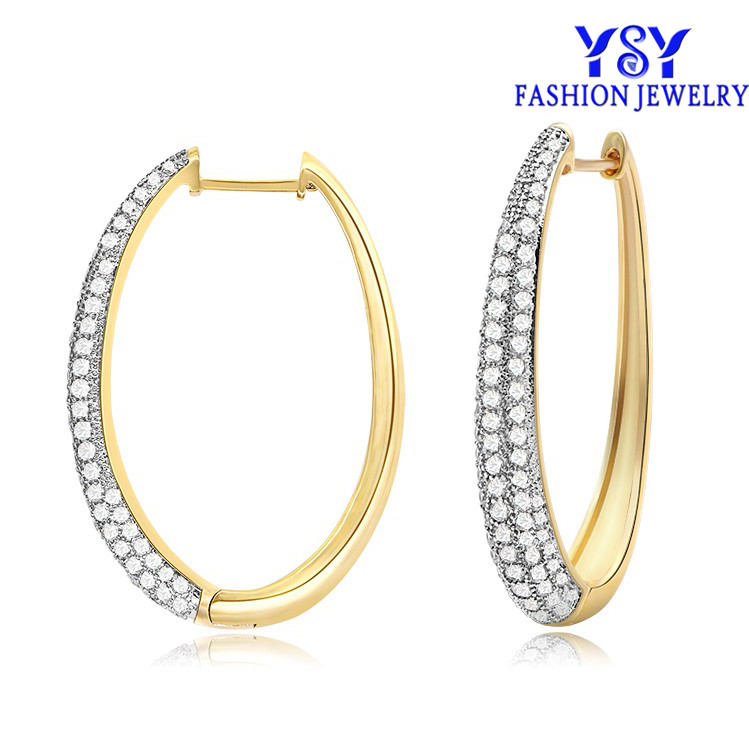 YE0373 Latest Fashion Plated Cubic Zirconia CZ Fashion Small Huggie Brass <strong>Earrings</strong>