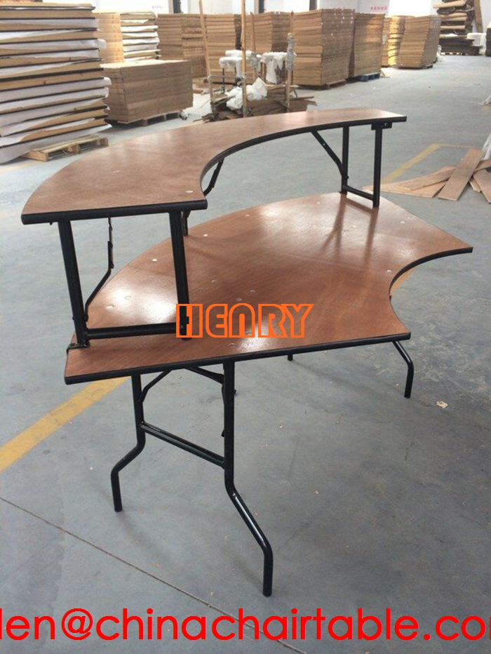 plywood serpentine table for wedding/banquet