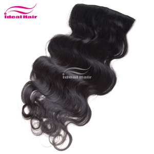 Guangzhou supplier clip in hair extensions 200g for white women,nylon hair,human hair clip in hair half wig
