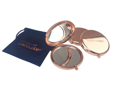 Stainless Steel Rose Gold Round Double Sisi Kustom <span class=keywords><strong>Cermin</strong></span> <span class=keywords><strong>Kompak</strong></span>