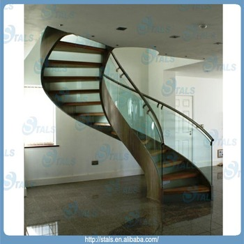 Beautiful Glass Handrail Wood Tread Stainless Steel Curved Staircase