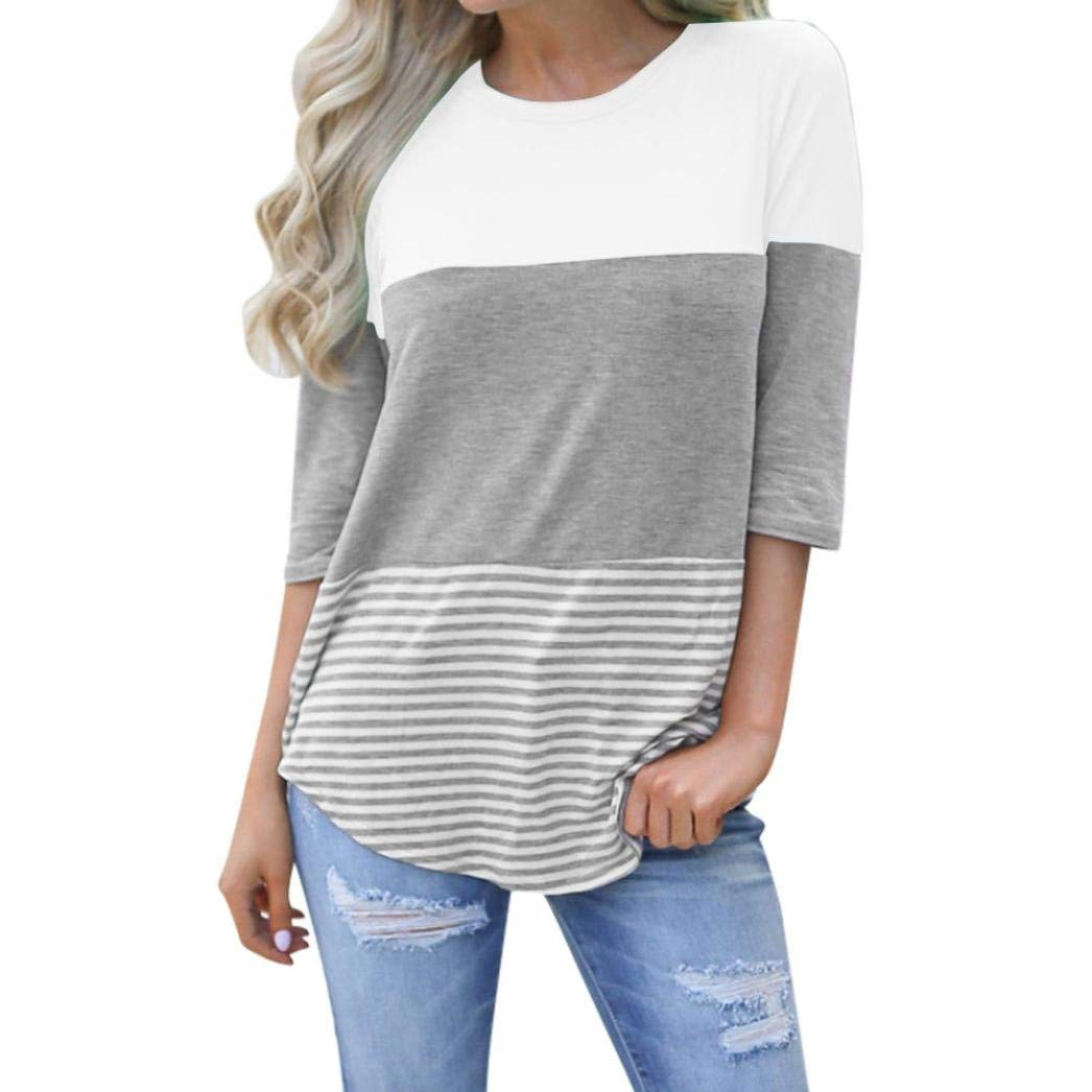 Snowfoller Women Blouse,Fashion Ladies Patchwork Short Sleeves Cotton T-Shirt Casual O-Neck Striped Irregular Hem Tops (S, White)