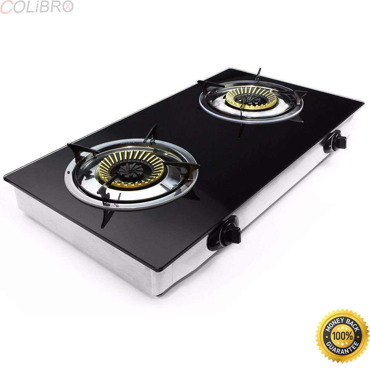 COLIBROX--2 Burner Stove Gas Propane Range Tempered Ignition Camping Outdoor Glass Cooktop. Propane Gas Range Stove Deluxe 2 Burner Tempered Glass Cooktop.