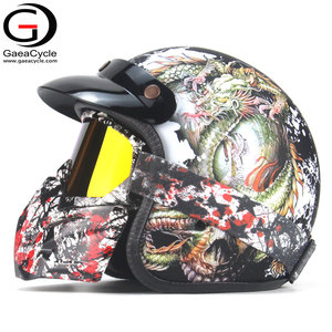 Vintage Open Face 3/4 Skull Dragon Motorcycle Helmet With Goggle Mask