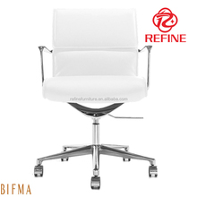 low back white genuine leather modern office chair executive RF-S107A