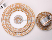 Royal luxurious style golden decal high quality porcelain dinner set