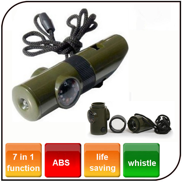 Outdoor 7 in 1 Emergency Plastic Lifesaving Flashlight Whistle Compass Survival Led Flashlight with Whistle