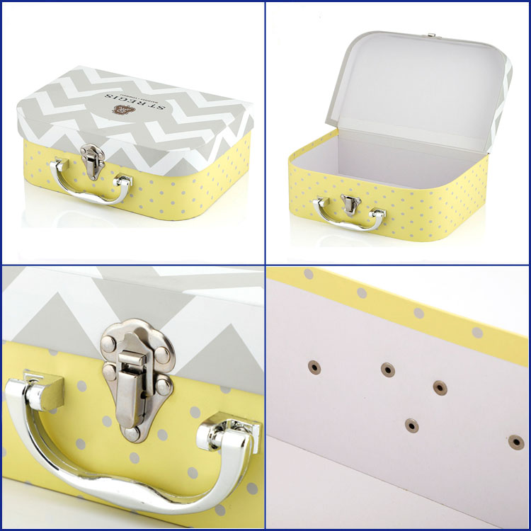 Plastic Handle Small Kids Packaging Gift Box Paper Cardboard Suitcase