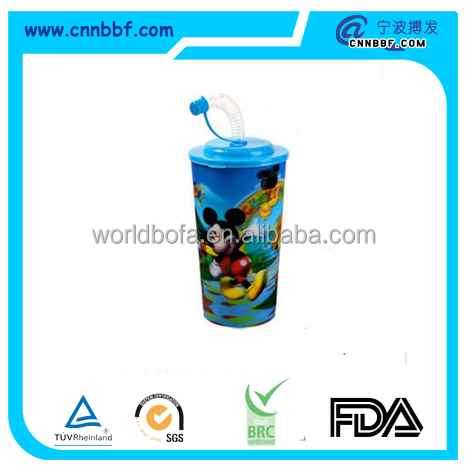 High quality multiple cartoon 3D lenticular printing plastic drinking straw cups