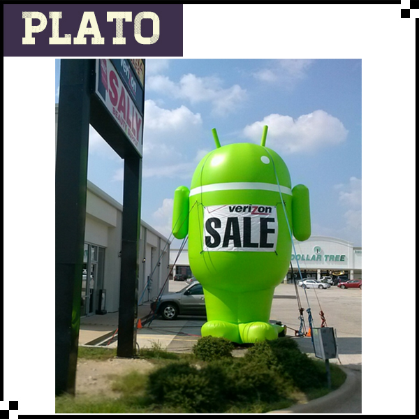Green Android robot, Antenna Inflatable, Verizon Sale Robert For Promotion