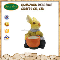 Real Fine hot selling resin animals cute rabbit statue home and garden decoration for wholesale