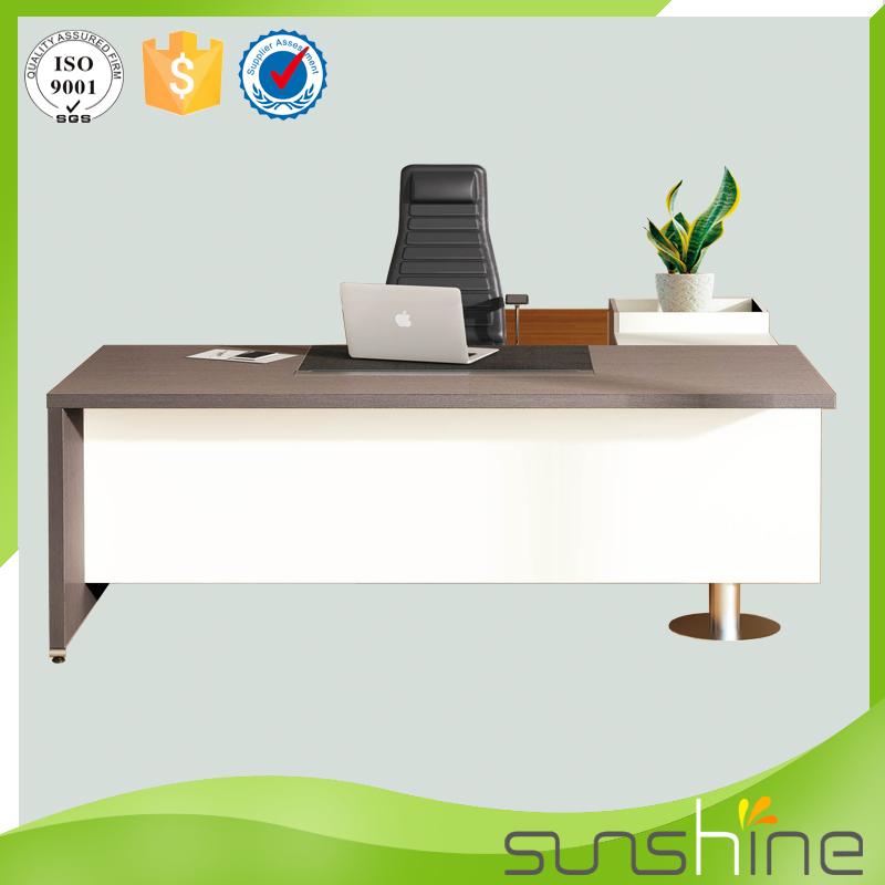 האופנה האופנתית פופולרי לבן עץ עיצוב מודרני שולחן משרדי ריהוט משרדי בוס שולחן KR-64