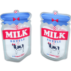 Custom printed bottle shape plastic stand up ziplock 300ml milk pouch bags