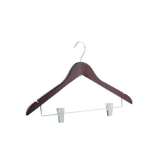 Factory Directory Sell Walnut Finish Solid Wooden Suit Coat Hanger With Silver Clips