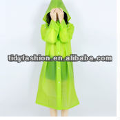 Full Body Green Plastic EVA Raincoat Fetish For Girls