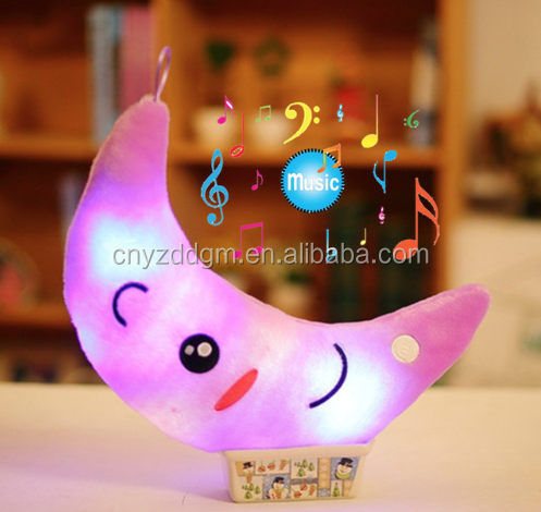 35cm Colorful Luminous Moon Shape Plush Toys Glowing LED Light Music Pillow Soft Stuffed Lovely Kids Toy