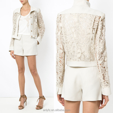 Anly Hot sale New Fashion Design Long Sleeve Beige Loose Lace Bomber Jacket For Women