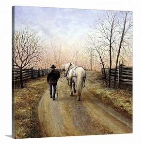 Premium thick wrap canvas wall art man and horse entitled end of day