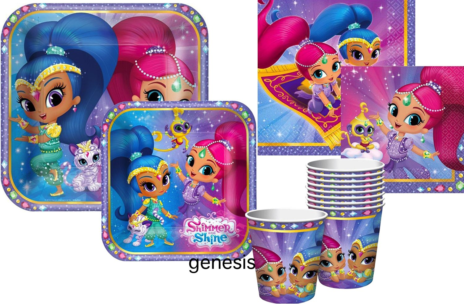 Shimmer & Shine Children's Party Supplies Lunch & Dessert Plates, Lunch Napkins & Beverage Napkins With Party Cups (Party For 8)